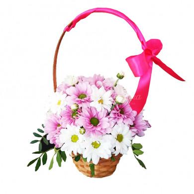 """Цветы в корзине """"Розовые щечки"""""""